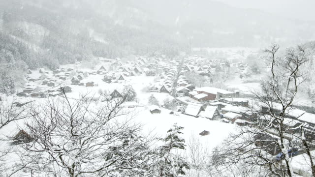 Time lapse of Shirakawa-go village in the winter, japan