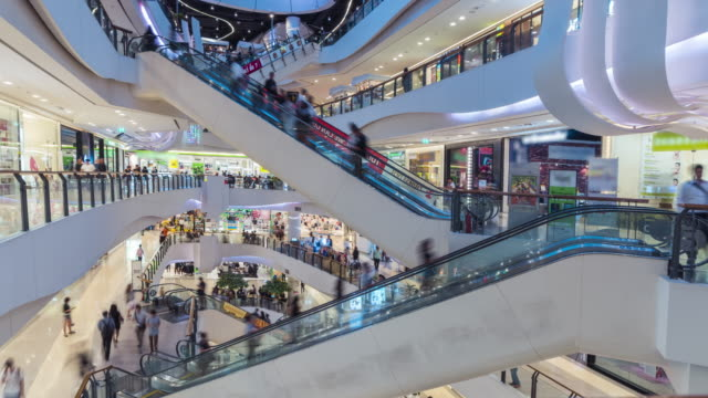 time lapse of shopping mall escalator - escalator video stock e b–roll