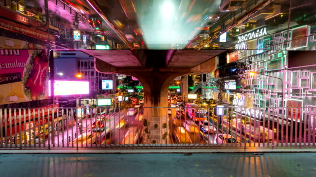 Time lapse of Sky Bridge and traffic at Siam Square,Bangkok, Thailand video