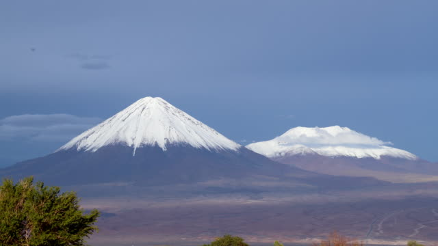 Time lapse of snow covered Licancabur volcano in the Andes, Atacama Desert