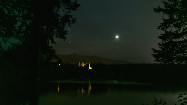 Time lapse of stars over mountain lake video