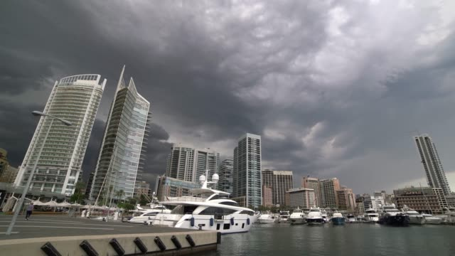 Time lapse of storm clouds in Zaytunay Bay marina, Beirut, Lebanon Zaytunay Bay marina, Beirut, Lebanon beirut stock videos & royalty-free footage