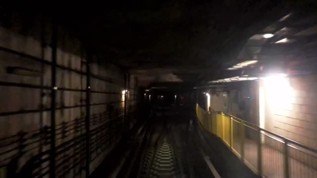 Time lapse of subway running in tunnel
