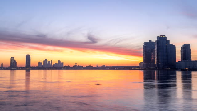 Time Lapse of Sun Rising over the New Jerysey Buildings from Manhattan side