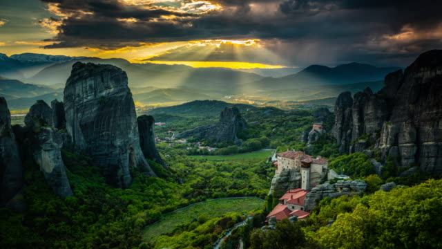 Time Lapse of Sunbeams over Meteora in Greece