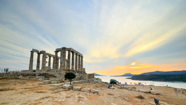 time lapse of sunset at cape sounion, greece - greek architecture stock videos & royalty-free footage