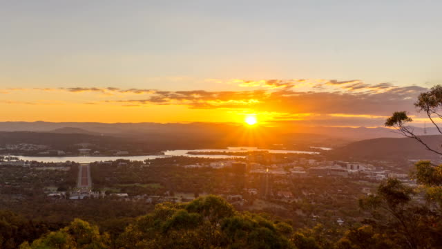 Time lapse of sunset over Canberra city, Australia. View from mount Ainslie Lookout Point. video