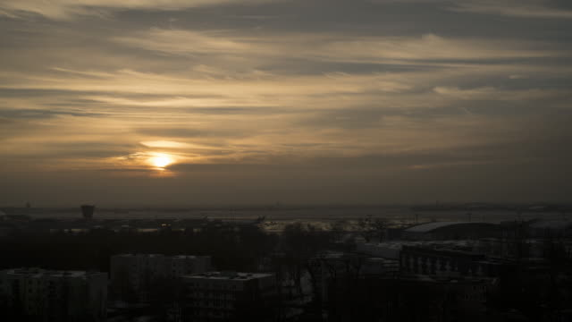 Time lapse of sunset over the chopin airport video