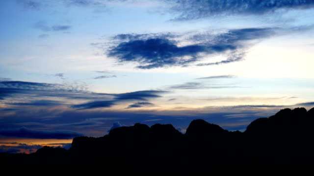 Time lapse Of Sunset Sky and Cloudscape Moving On The Mountain. - vídeo