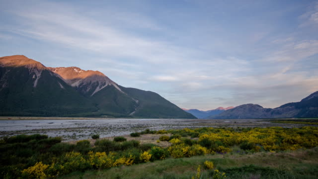 Time Lapse of sunset with mountain at arthur's pass national park , canterbury , new zealand video