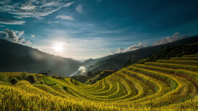 4K Time lapse of Terraced rice field when sunset with Undefined Vietnamese Hmong walking and working at Mu Cang Chai 4K Time lapse of Terraced rice field when sunset with Undefined Vietnamese Hmong walking and working at Mu Cang Chai district, Yen Bai province, Vietnam sa pa stock videos & royalty-free footage