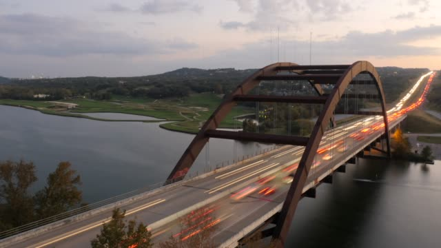 Time Lapse of the Austin 360 Bridge During Rush hour video