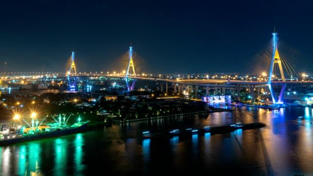 4k tidsfördröjning bhumibol bridge eller industriella ring road bridge, trafik på väg och floden chao phraya, bangkok thailand. - kungen av thailand bildbanksvideor och videomaterial från bakom kulisserna