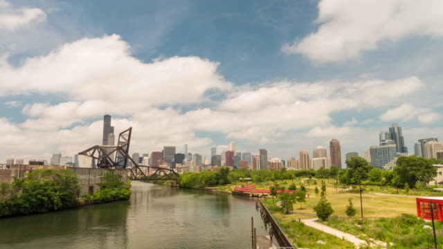 Time lapse of The Chicago River and downtown Chicago skyline USA video