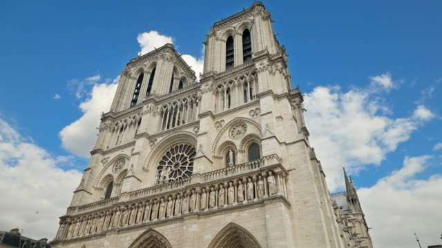 time lapse of the famous notre dame cathedral in paris france - gothic architecture stock videos & royalty-free footage
