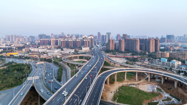 Time Lapse of the overpass Bridge in WuHan city,china video