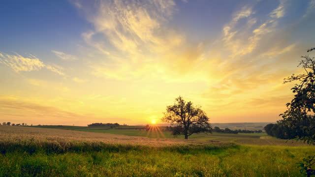 stockvideo's en b-roll-footage met time lapse van de rijzende zon over een landelijk landschap - omgeving