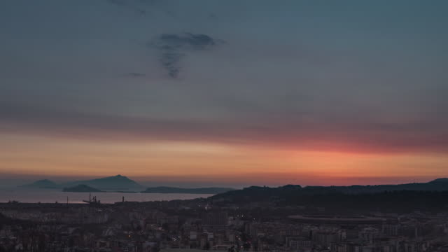 Time lapse of the sunset over Naples. We can see beautiful landscape and magic colors on the sky. dark blue stock videos & royalty-free footage
