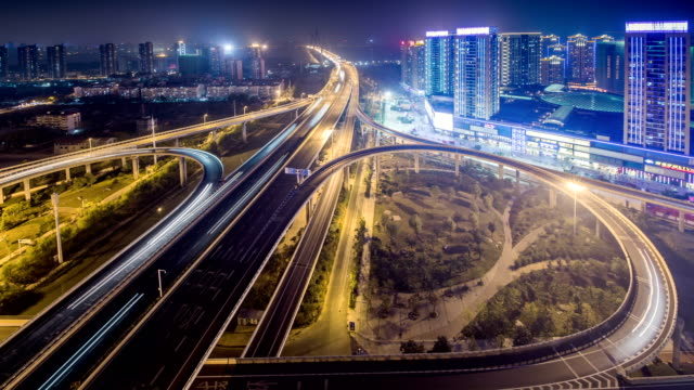 Time Lapse of the WuHan Bridge in wuhan at night video