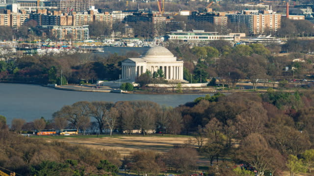 Time lapse of Thomas Jefferson Memorial and with bridge and city in Washington, D.C., USA