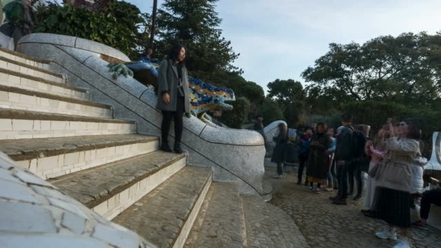 Time Lapse of Tourists Visiting Parc Guell Lizard Gaudi