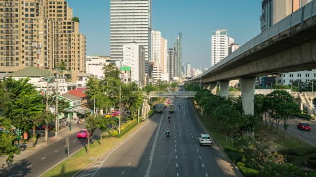 Zeitraffer der Verkehr in der Innenstadt von Bangkok, Thailand – Video