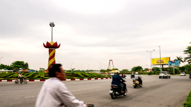 Time lapse of traffic in circle, Vietnam video