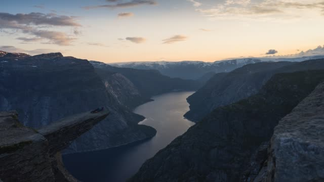 Time lapse of Trolltunga mountain cliff, most famous mountain hiking route in Norway