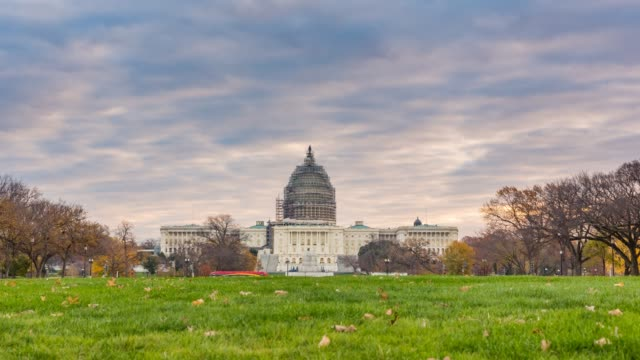 Time lapse of US Capitol in Washington DC at autumn morning