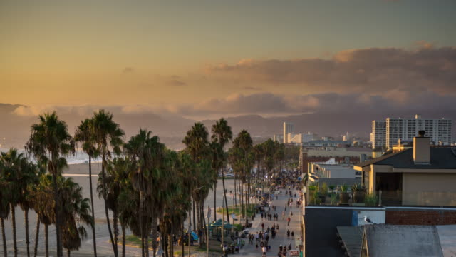 Time Lapse of Venice Beach Boardwalk at Dusk video