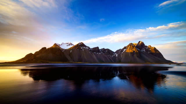 4K Time lapse of Vestrahorn mountain at sunset, Iceland video