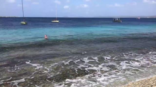 Time lapse of waves crashing against the rocks on the shoreline in Bonaire Time lapse of waves crashing against the rocks on the shoreline in Bonaire leeward dutch antilles stock videos & royalty-free footage