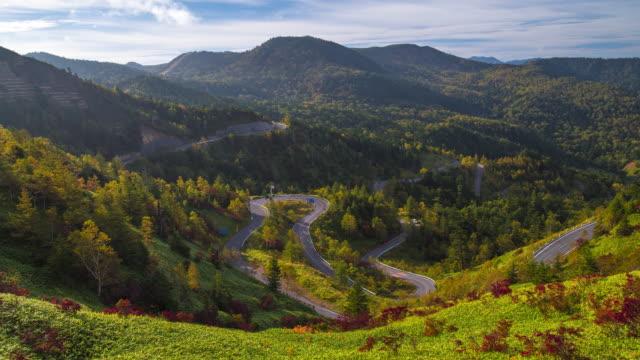 Time lapse of winding road of road No.292 on Mt.Yokoteyama, Shigakogen, Nagano, Japan