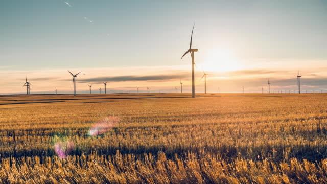 vídeos de stock, filmes e b-roll de lapso de tempo de turbina moinho de vento - canadá