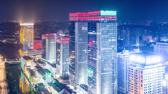 Time Lapse of wuhan city at night,China video