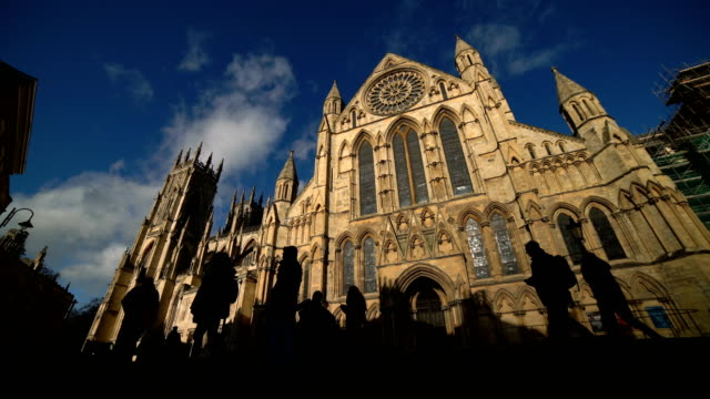 time lapse of york minster, york, england, uk - gothic architecture stock videos & royalty-free footage