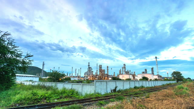 4K. Time Lapse  Oil refinery video