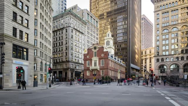 4K UHD Time lapse : Old State House. Boston, USA