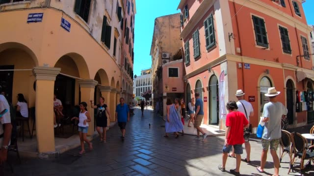 VIDEO, time lapse on the streets of Old city Corfu Town, Greece