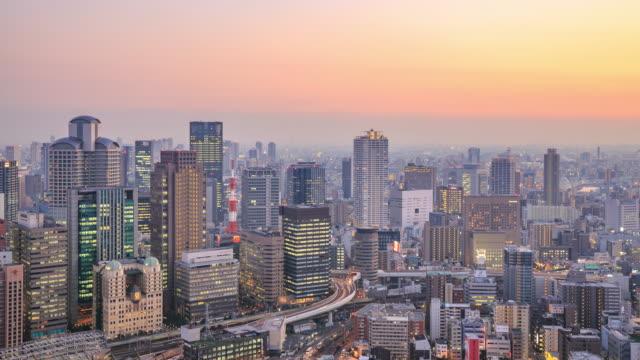 4k Zeitraffer : Osaka, Japan während dem Sonnenuntergang – Video