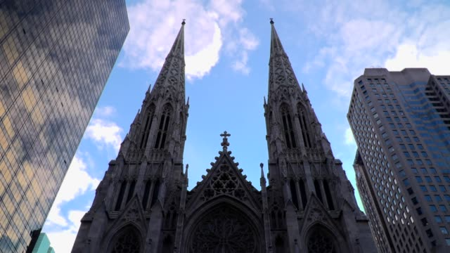 time lapse over spires of st patrick's cathedral - gothic architecture stock videos & royalty-free footage