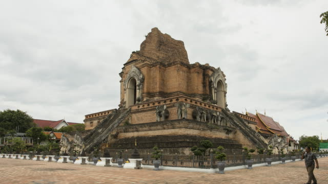 time lapse pagoda in wat chedi luang templa ,chiangmai province,thailand ; panning motion - lunghezza video stock e b–roll