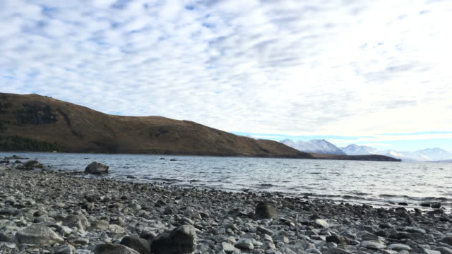 Time lapse pan right effect of cloud and lake at Lake Tekapo, New Zealand video