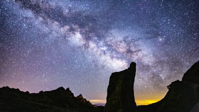 vídeos y material grabado en eventos de stock de lapso de tiempo-vista panorámica de la galaxia vía láctea sobre las colinas de alabama-4k - la vía láctea