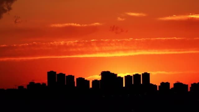 Time lapse panoramic sunset on the cloudy sky over city, Turkey video