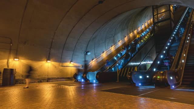 4K UHD Time lapse : People using escalator at Washington DC Metro Train Station in rush hour, United States, public transportation