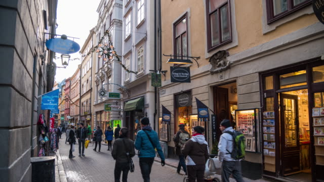4K Time Lapse: People Walking In Street Market Area In Stockholm video