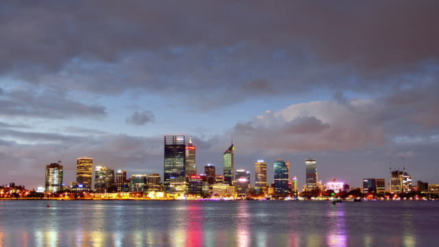4K Time lapse: Perth Skyline From Day to Night, Australia (Zoom Out) video