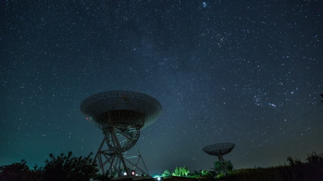 Time Lapse- Radio Telescope Under The Milky Way, Galaxy (WS LA)