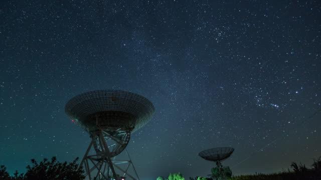 time lapse - radioteleskop unter der milchstraße galaxie (ws la rl pan) - satellitenschüssel stock-videos und b-roll-filmmaterial